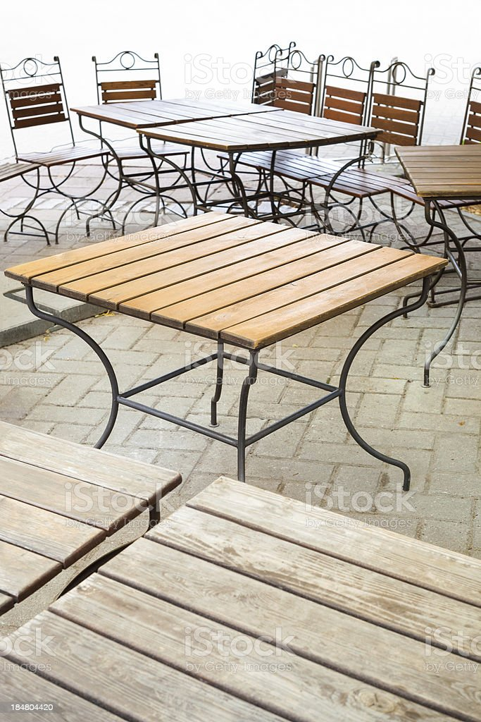 Cafe terrace with tables and chair royalty-free stock photo