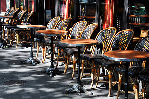 Cafe Terrace with tables and chairs stock photo