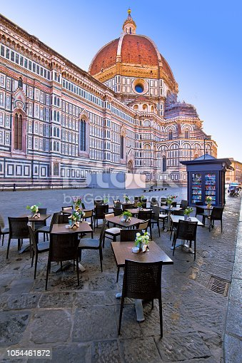 Cafe under Duomo on square in Florence, historic landmark in Tuscany refion of Italy