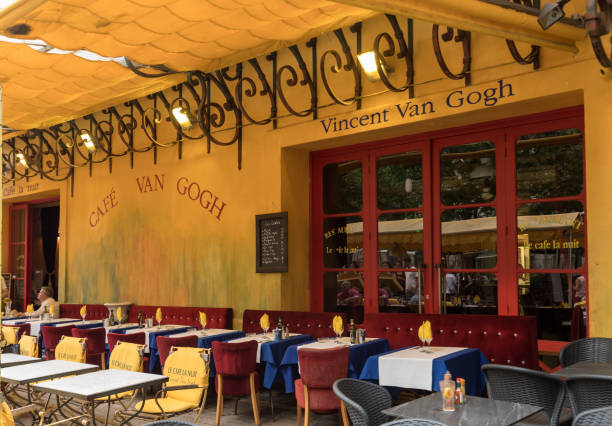 Cafe van Gogh at place du Forum in Arles. France stock photo