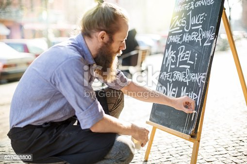 istock Cafe waiter writing todays special on the board 527688800