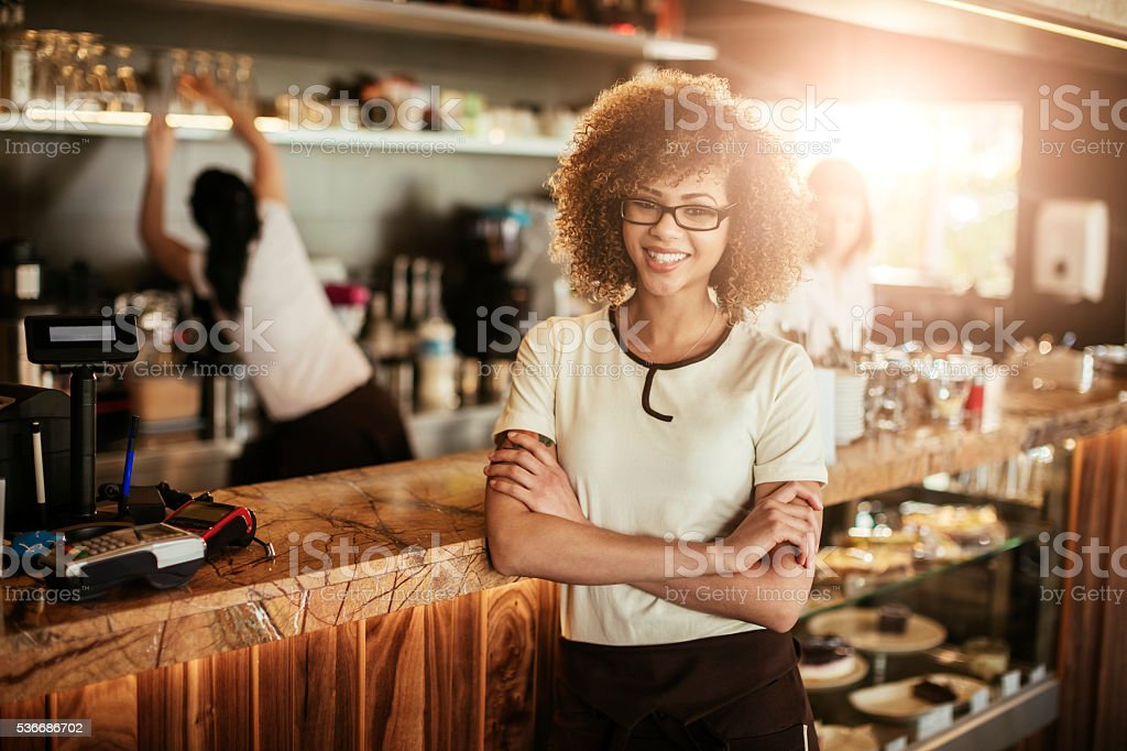 Cafe waitress stock photo