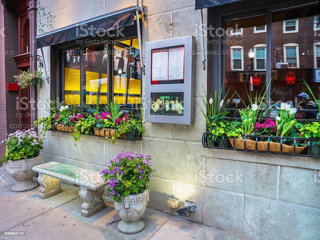 Cafe windows in Boston stock photo