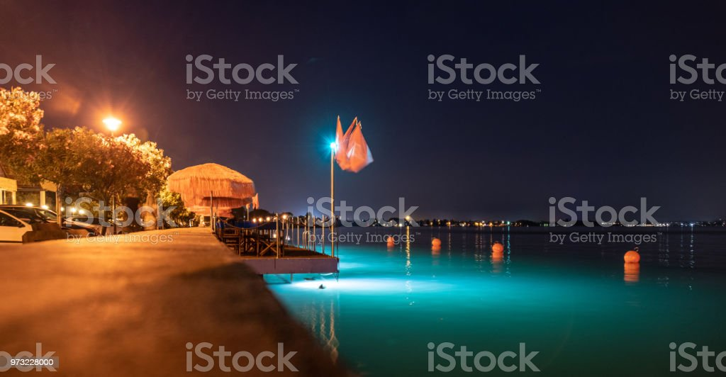 Cafe with lighting in Sirmione in Lake Garda, Italy stock photo