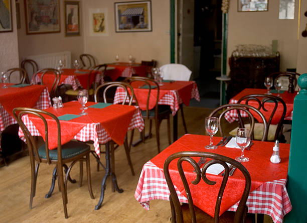 cafe with red tablecloths - pizzeria stock photos and pictures