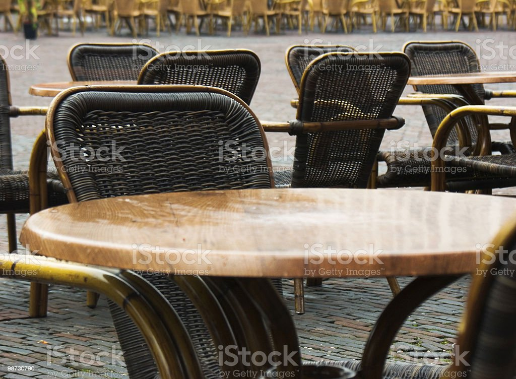 Cafelife; Empty terras royalty-free stock photo
