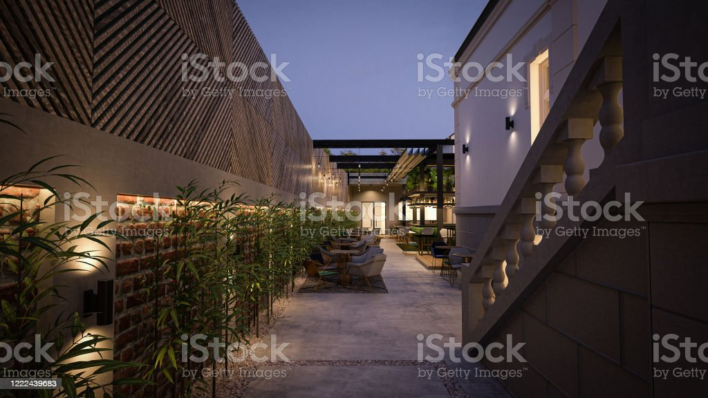 Caferestaurant Outdoor Seating Area Interior Design Computer Generated Image Architectural Visualization 3d Rendering Stock Photo Download Image Now Istock
