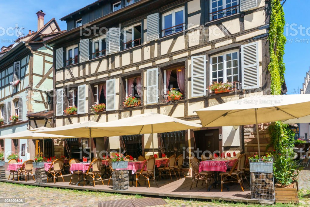 Cafes and restaurant in Petite-France in Strasbourg stock photo