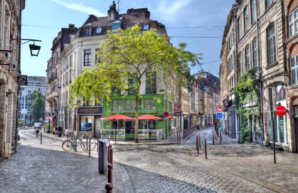 Cafes in the old part of Lille, France stock photo