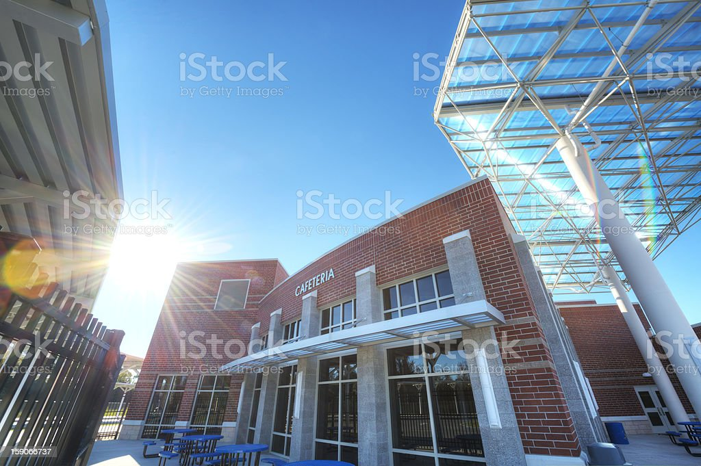 Cafeteria at High School stock photo