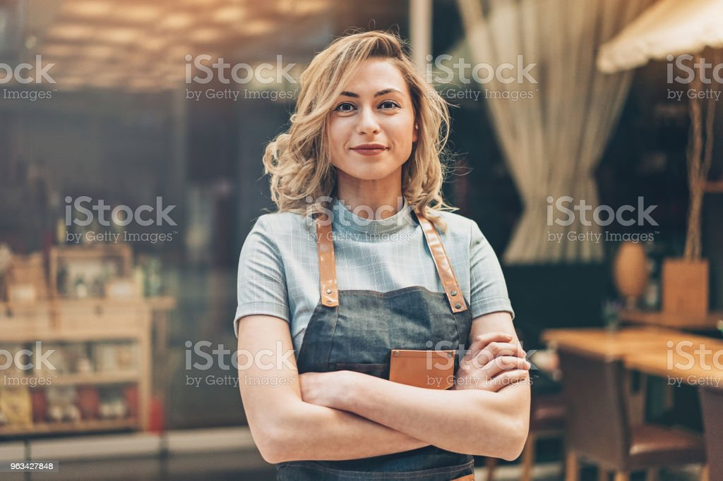 Cafeteria owner stock photo