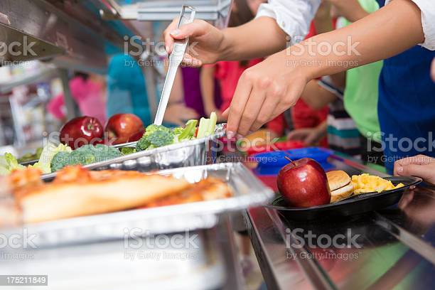 Cafeteria worker helping elementary students select food in lunch picture id175211849?b=1&k=6&m=175211849&s=612x612&h=irmhw571iy9xpalxi6u7pwjc9lzc7s6k3bnyn6xefnm=