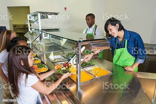 Cafeteria worker serving healthy food to children in lunch line picture id498579063?b=1&k=6&m=498579063&s=612x612&h=gvvjyhg2ng 1pnq60qca729stkdlqhnlmi qaeghz24=