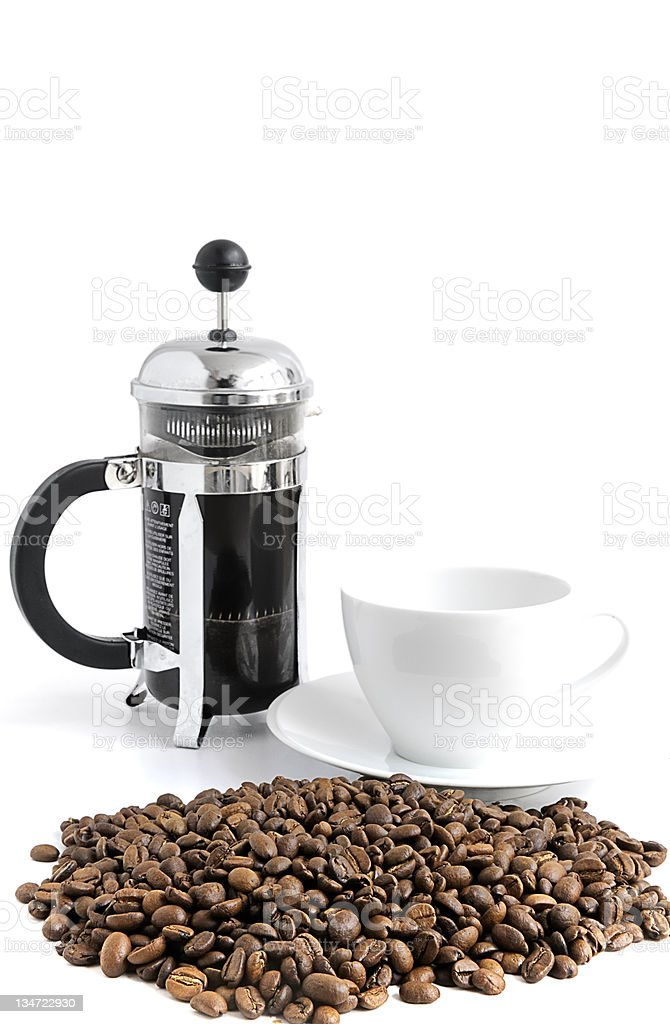 Cafetiere and coffee beans royalty-free stock photo