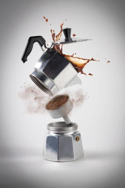 caffè moka explosion - mocca stock-fotos und bilder