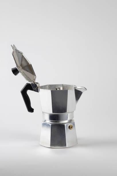 caffè moka open - argento metallo caffettiera foto e immagini stock