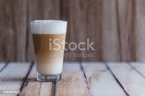 istock Caffe latte macchiato coffee layered with milk 1092652322