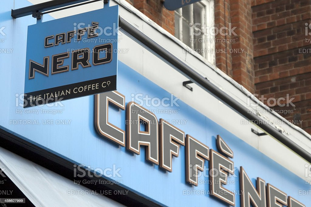 Caffe Nero coffee shop signs royalty-free stock photo