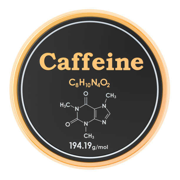 Caffeine. Chemical formula, molecular structure. 3D rendering isolated on white background Caffeine. Chemical formula, molecular structure. 3D rendering isolated on white background caffeine stock pictures, royalty-free photos & images
