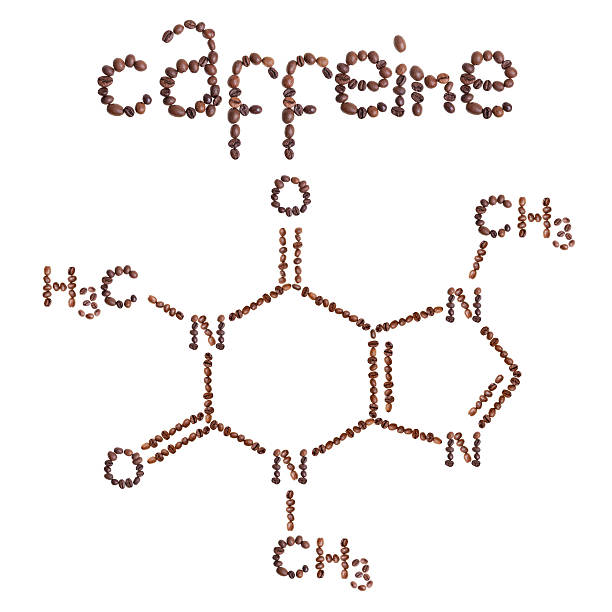 Caffeine chemical molecule structure.  Caffeine chemical molecule structure. The structural formula of caffeine with dark brown coffee beans. caffeine stock pictures, royalty-free photos & images