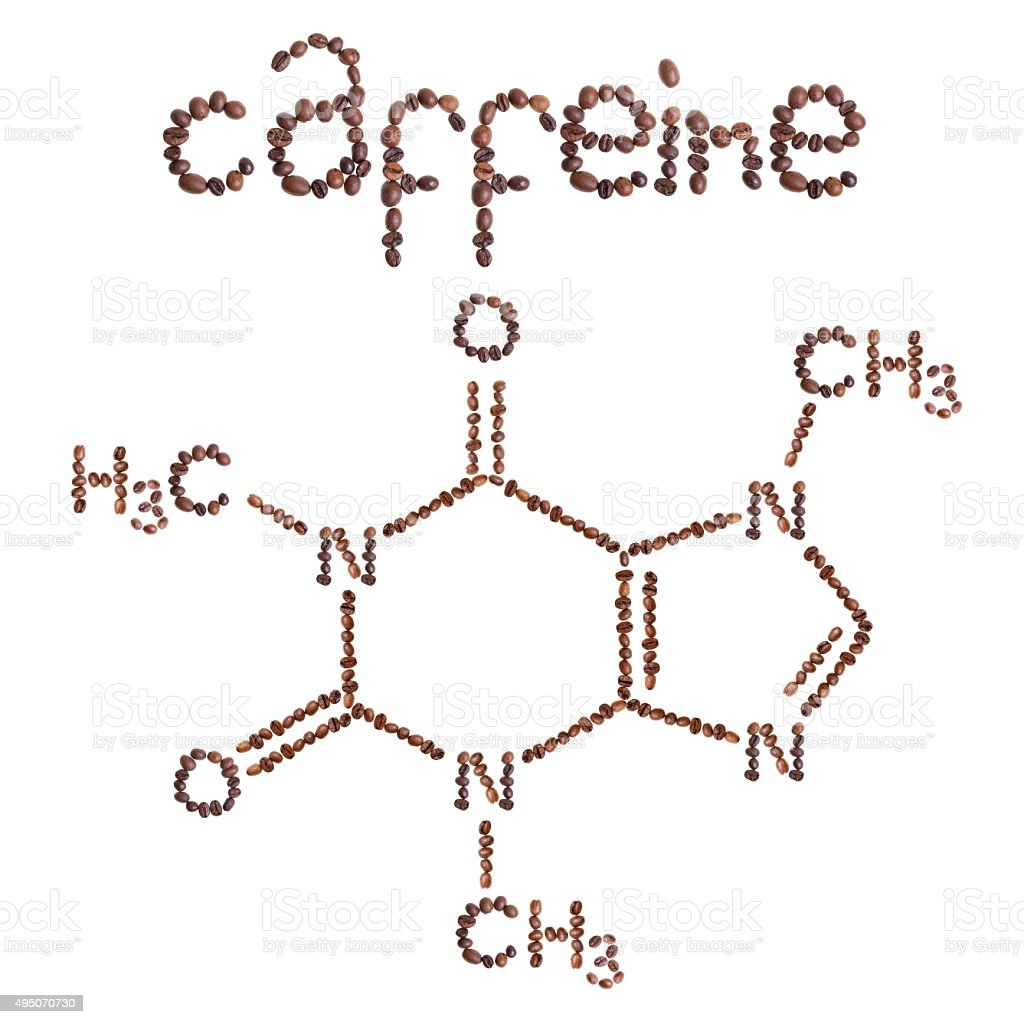 Caffeine chemical molecule structure. stock photo