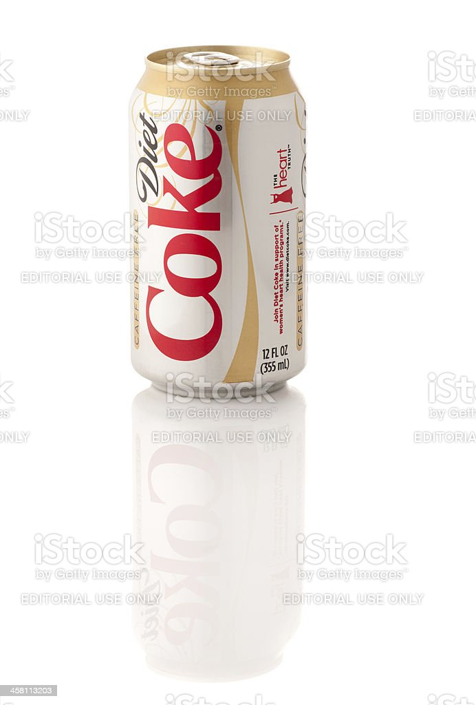 Caffeine Free Diet Coke Can, 12 oz size with Reflection stock photo