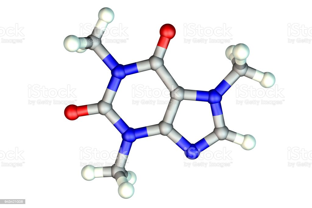 Caffeine molecule, illustration. Caffeine is found in coffee, tea, energy drinks, is used in medicine stock photo
