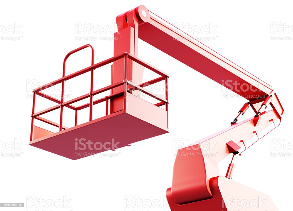 Cage and arm of a mechanical lift isolated on white stock photo
