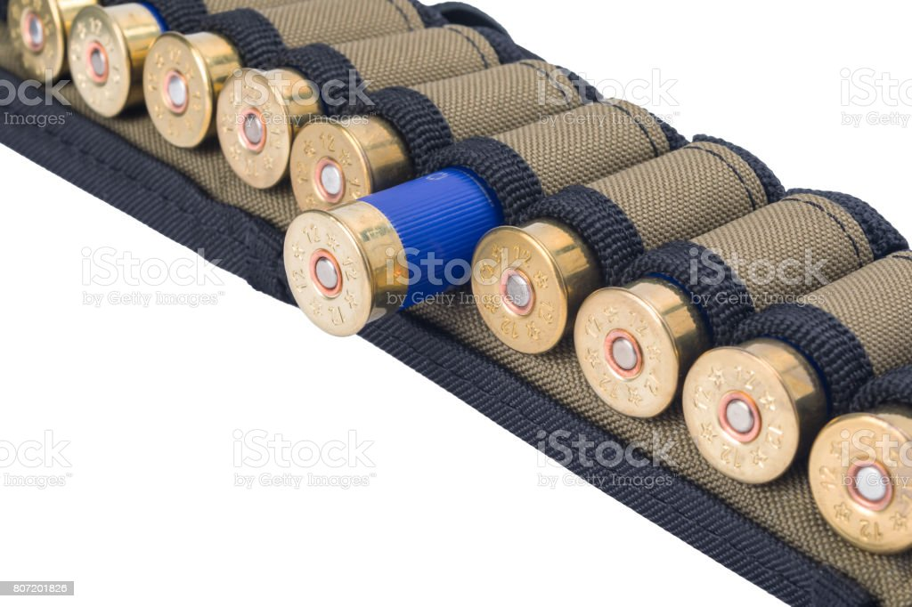 cage with cartridges for hunting rifles, isolated on white background stock photo