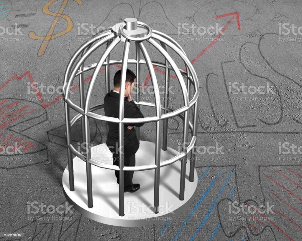 Cage with man thinking inside stock photo