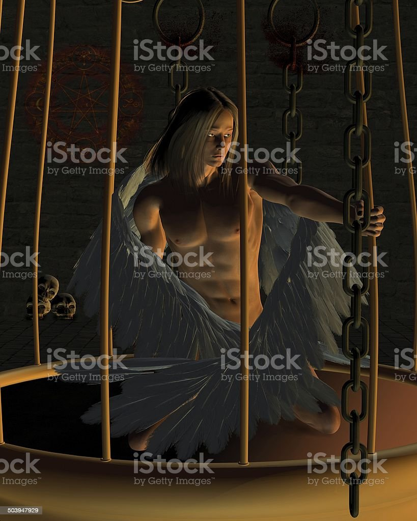 Caged Male Angel in a Dark Dungeon stock photo