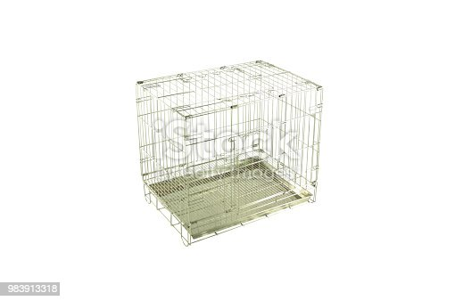 Cages for pets made from stainless steel.  Pet supplies concept