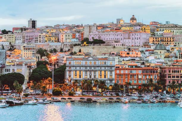 Cagliary cityscape and architecture with Mediterranean Sea in Sardinia Italy stock photo