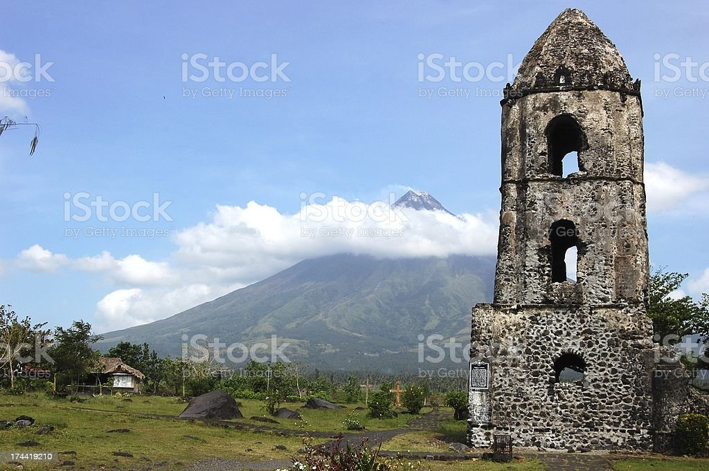 Cagsawa ruins and Mayon volcano - Philippines stock photo