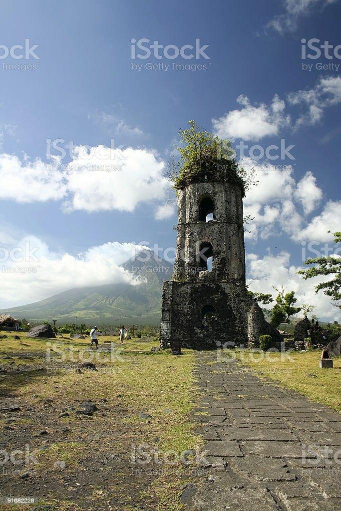 cagsawa ruins mount mayon philippines stock photo