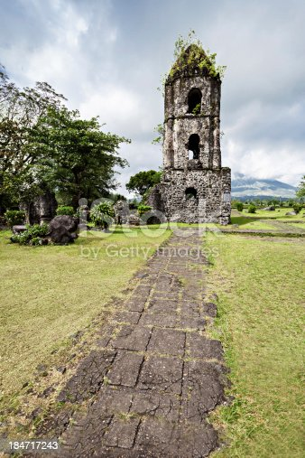 Cagsawa Ruins are the remnants of an 18th century Franciscan church, built in 1724 and destroyed by the 1814 eruption of the Mayon Volcano.