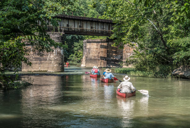 Cahaba River Canoers in Helena, Alabama A group canoeing down the Cahaba River in Helena, Alabama in the Summer. alabama stock pictures, royalty-free photos & images