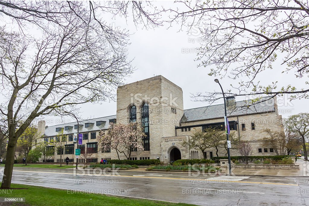 Cahn Auditorium at Northwestern stock photo