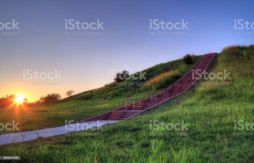 Cahokia Mounds in Collinsville, Illinois royalty-free stock photo