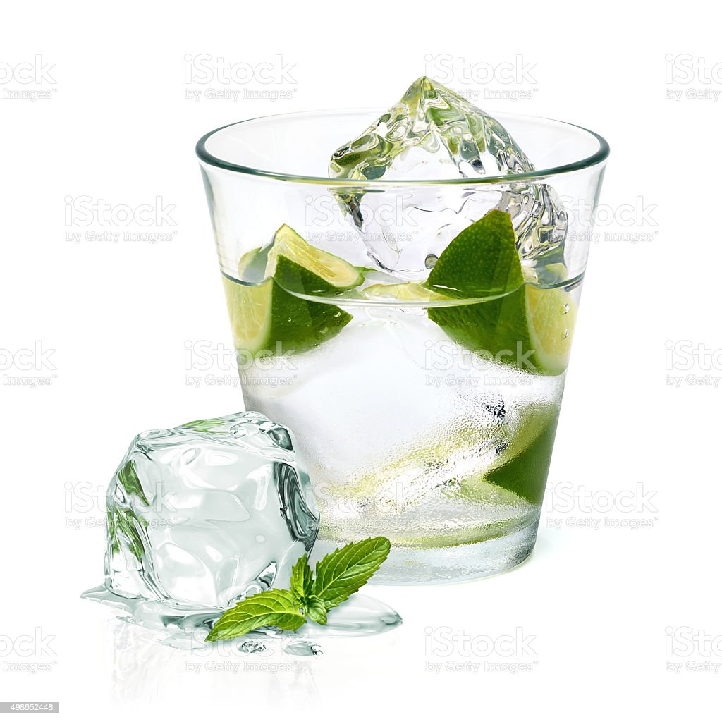 Caipirinha cocktail with lime wedge stock photo