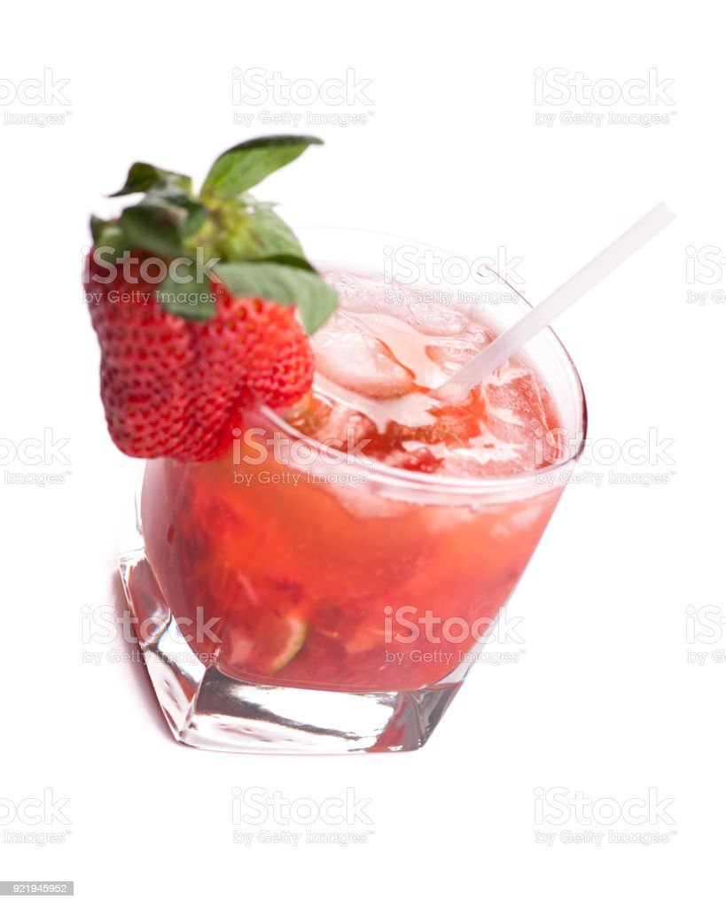 Caipirossa - Single red cocktail from bird's eye view stock photo