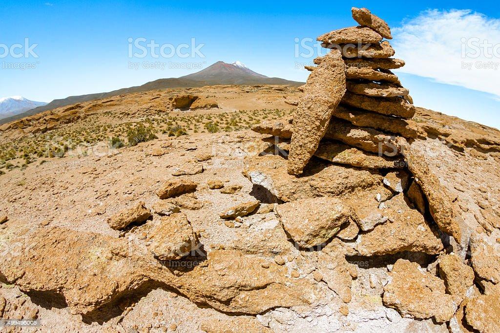 Cairn in Atacama stock photo