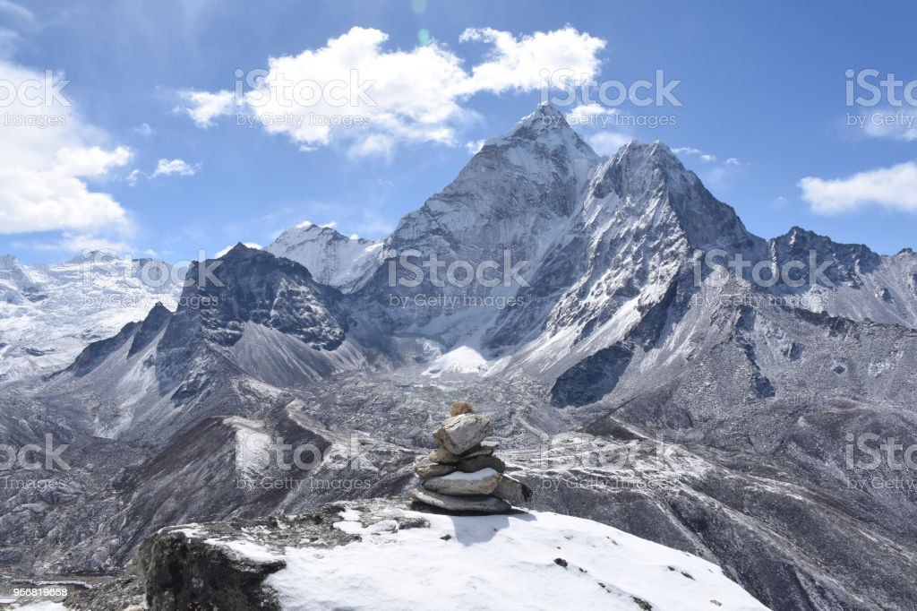 Cairn in front of Ama Dablam, Nepal stock photo