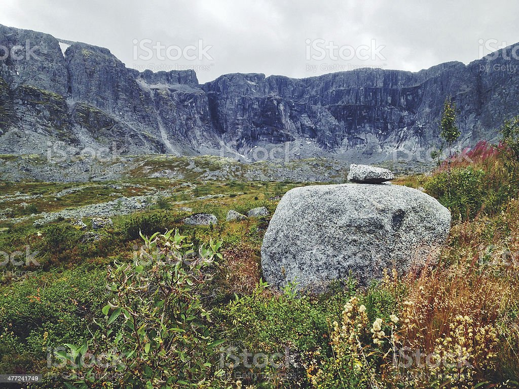 Cairn in Khibiny mountains, Russia royalty-free stock photo