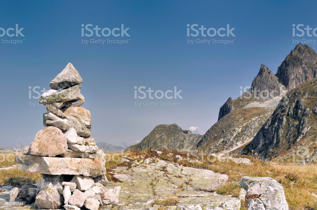 cairn in rocky mountain royalty-free stock photo