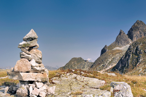 Cairn In Rocky Mountain Stock Photo - Download Image Now