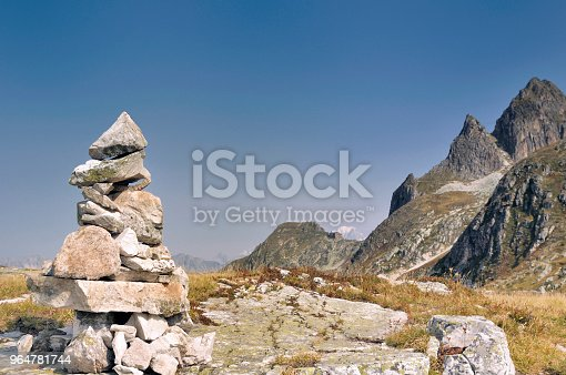 Cairn In Rocky Mountain Stock Photo & More Pictures of Blue