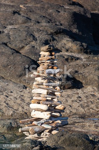 istock Cairn like pyramid made out of driftwood on an Oregon beach 1271169737