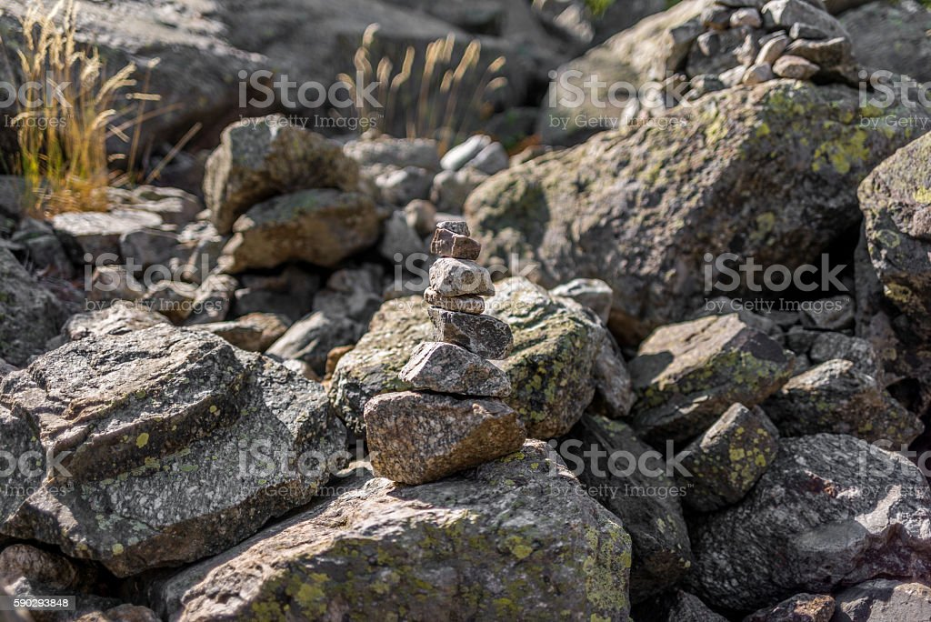 Cairn on GR20 hiking trail in Corsica - 2 royaltyfri bildbanksbilder