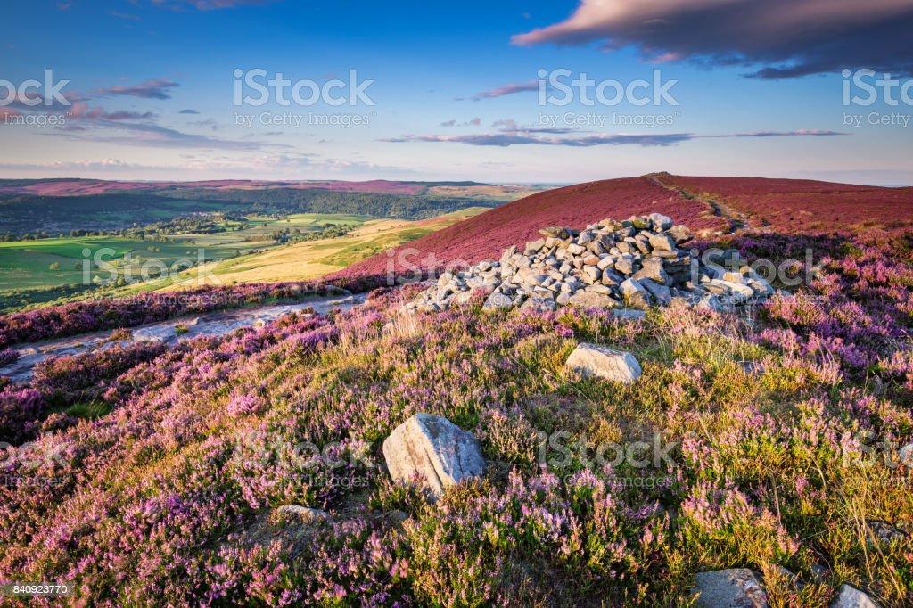 Cairn on Simonside Hills Ridge stock photo